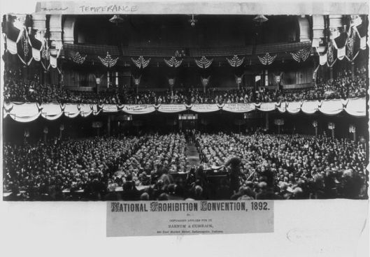 The only known interior picture of Tomlinson Hall features the 1892 National Prohibition Convention - Picture courtesy of Historic Indianapolis.com