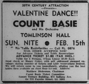 Advertisement for a Valentine's dance at Tomlinson Hall