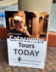 Look for this sign on Whistler Plaza to register for the catacombs tour.