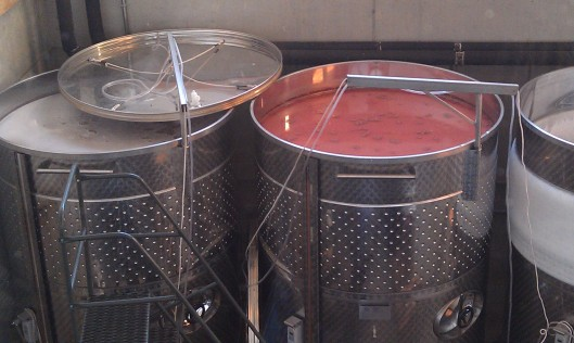 Vats of future goodness doing their thing at Ertel Cellars Winery